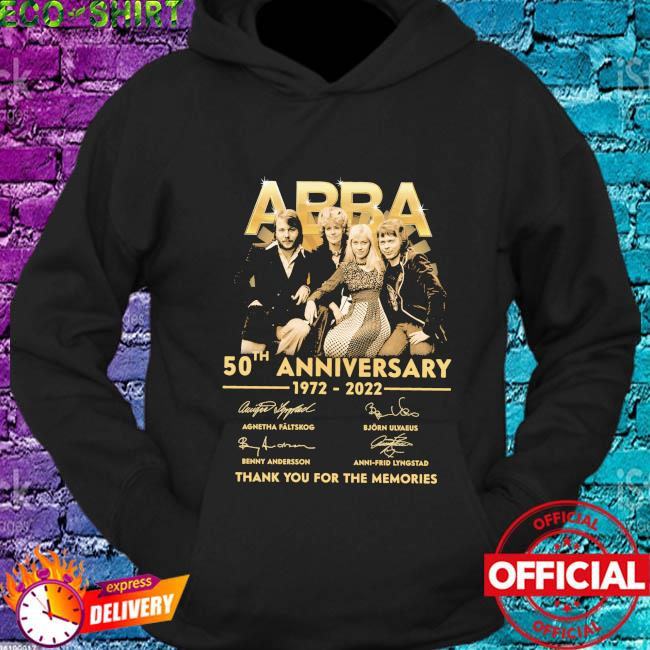 Abba 50th anniversary 1972 2022 thank you for the memories signatures s hoodie